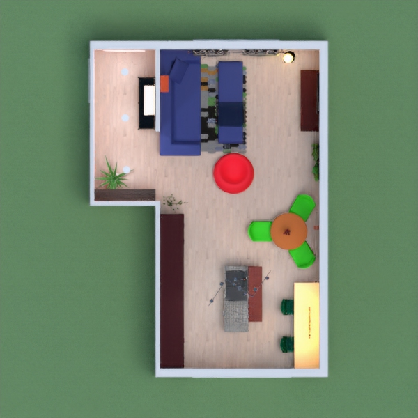 This is how I would furnish a living room/kitchen, The Couple who own it I would picture liking the color red and blue.