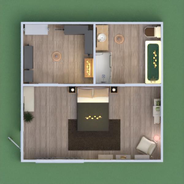 Es un espacio acojedor, y caliente. Hay mucho espacio, y sitio para poner y guardar cosas. Unvestidor con mucho espacio, con dos espejos, un tocador, 3 armarios y una pared de ladrillo. El baño contiene una bañera y una ducha, lavabo, un espejo redondo y una pared de ladrillo. Y para acabar el dormitorio, contiene una butaca, con una lampara de pie, 3 baldas, colocadas en escalera, una cama doble, un cuadro gigante detras de la cama, y la misma pared pintada de marron clarito.