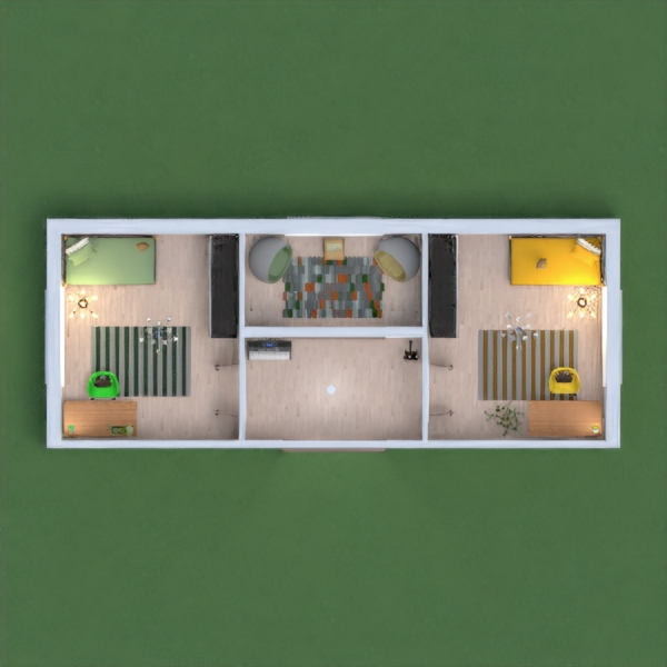 Two girls bedrooms.One green,one yellow both very simular but diffrent colors