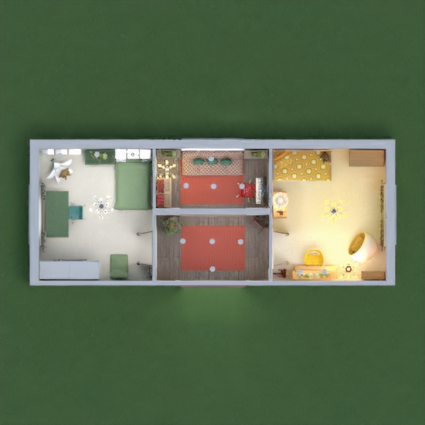 Here are my bedrooms for two sisters with different taste: a retro yellow room and a modern green one. The relax room has nothing to do with green or yellow if they get tired of them...