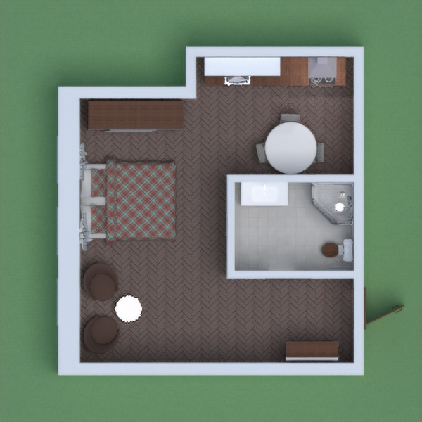This comfortable apartment is for young couple. There is bedroom for two, relaxation zone, bright bathroom, storage zone, also cosy kitchen, where you can have dinner with friends and relatives. If you need to invite more people, you can relocate kitchen table to the hall and use those two armchair. This is a very functional apartment on a small space!