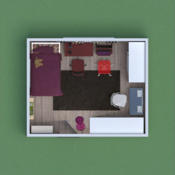 This is a Girl's bedroom, the base colour is purple / dark red. It's for age between 18 and 28.