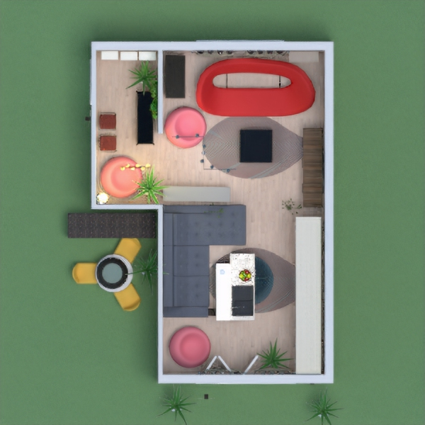 This is a project-plan of a room, which is useful for everyday work and home office activities, ith has got a little kitchen acessories, with furniture, cupboard, and sitting places. There are some red chairs, and it's suitable for everyone who works enough from morning till afternoon or early night.