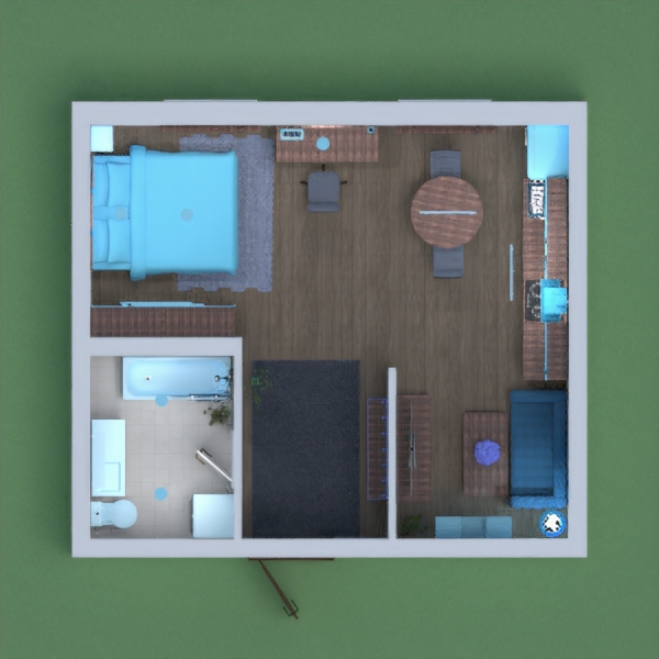 This is my small apartment. When you walk in, there is a hanger, a rug, and a door to go to the bathroom, which has a bath and shower, a toilet, a sink, a mirror, a shelf, and a washing machine. In the main room, there is the sleeping space. It has a bed, a rug, some paintings, shelves to put clothes, and a bed stand with some books. Right next to the bed is a desk to work, draw, read, and write. On the desk is some candles and above the desk is a painting. Past the desk, there is a kitchen/dining room, which has a dining table next to the window and two chairs, (this apartment was targeted toward 1 or 2 people living in it) and a kitchen to cook food. Next to the kitchen in a little side room, there is a cozy living room that has a couch, some shelves, mirrors, and a tv plus tv stand. The color scheme is all shades of blue, (ex. Lighter blue, darker blue, blue grey) and brown. I worked really hard on this, and really hope you like it. I will vote for anyone who leaves a kind, honest, and specific comment. ANYONE WHO COPIES AND PASTES THEIR COMMENTS PLEASE DO NOT DO SO ON MINE. I BELIEVE IN HONEST FEEDBACK AND WHATEVER REASON YOU HAVE FOR COPY AND PASTING PLEASE HAVE RESPECT FOR MY OPINIONS AND DO NOT COPY AND PASTE YOUR COMMENTS. There are people who want to win this competition FAIRLY AND HONESTLY, not by trying to attract the most attention through comments, but by trying to make a great project. Also please vote only if you like this project, and not because you think it will attract votes to yours. I really hope you like this project, I worked very hard, and may the best one win!