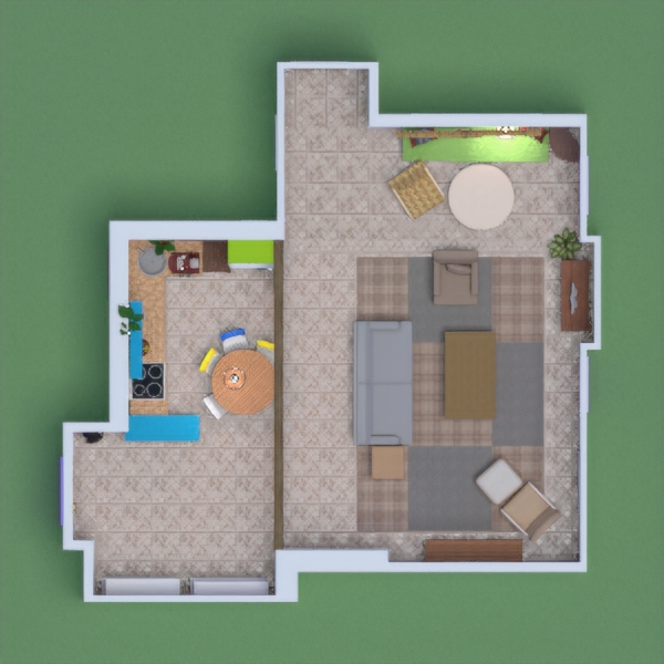 Hello, this is my design of Monica's apartment from friends. I tried to make it look exactly the way it is in the show. I hope you like it