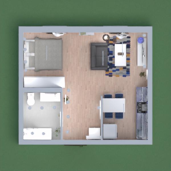 Apartamento estilo kitnet para uma pessoa solteira, lugar aconchegante mesmo com pouco espaço. apesar do azul ser o tom de destaque o ambiente ficou bem claro e moderno também, aproveitando todos os espaços.