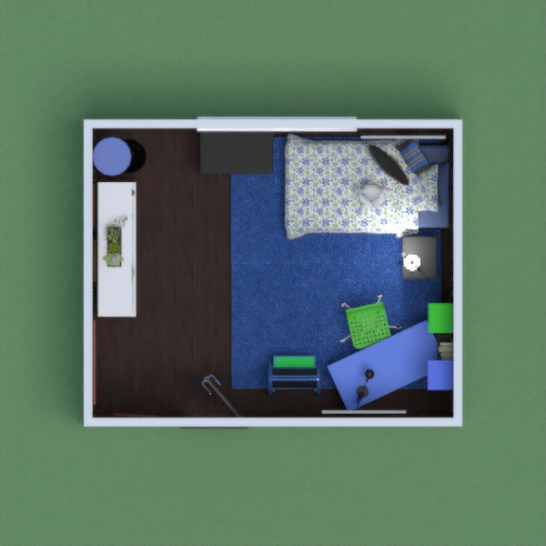 A child's bedroom with a desk to do homework that is painted brightly in blues and greens. The walls are decorated with abstract art that is brightly colored. There is a dresser for clothes that match the black bed and a bookshelf for books to be stored on that is white.