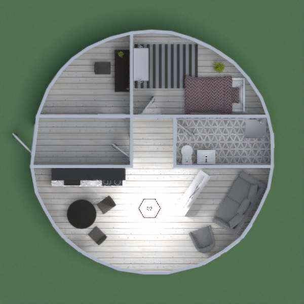 Omg! I love this design! I used white flooring and the black kitchen adds a cool touch. My favorite room is the bedroom, and it has so much natural light and I think the bedspread is so pretty. Thanks for commenting and liking!