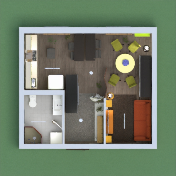 Light Yellow coloured room (living room) with a little bathroom.