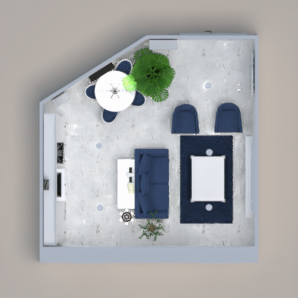 A white and blue color scheme with a modern twist with some classic elements