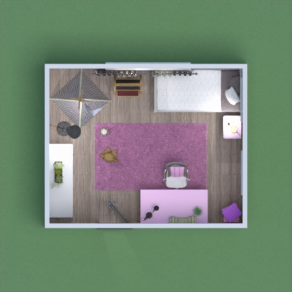 This room is for a young girl/child. The theme to this room is pink.  This room has a desk for homework. A play area with a tent, a dresser and a bed/reading area