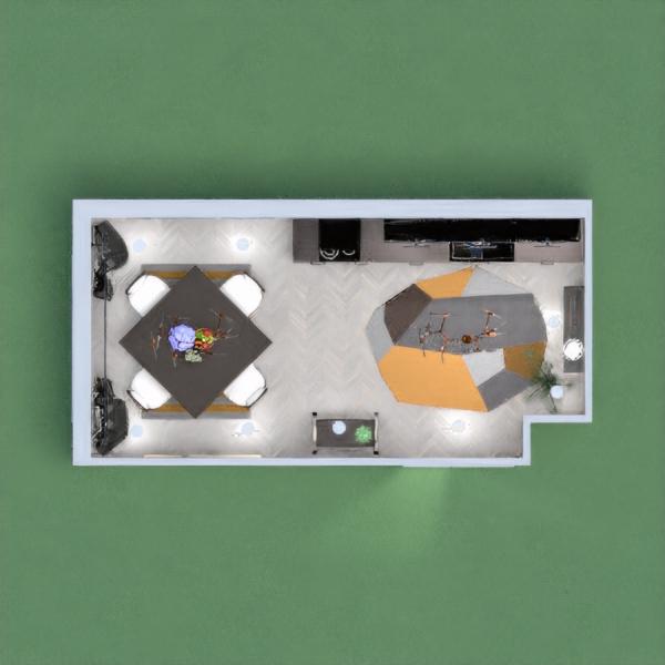 Cozinha em preto, dourado e cinza, bem iluminada e confortável