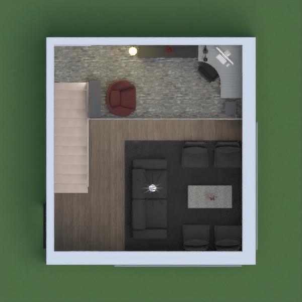 Planta baja: cocina con refrigerados instalado, comedor para dos personas, silla auxiliar bajo escaleras, frutas en la mesa; sala o living room con sofa y 4 sillones con cojín, mesa de centro decorada, todo sobre alfombra, decoración al lado de la entrada.  Planta alta: piso diferente, con estantes para libros y otros, sillón de descanso, tablero simulando  un Televisor en la pared, escritorio y estantería, PC, silla de trabajo, decoración. Decoración en las escaleras.   Paredes tapizadas.