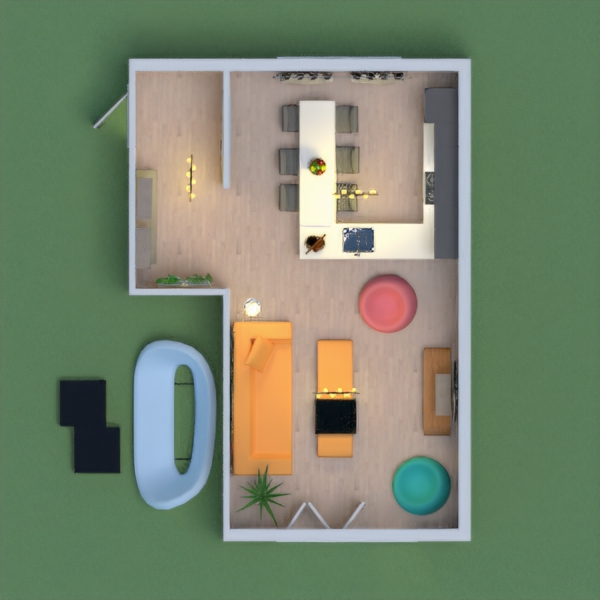 this is a living room with a kitchen,it is very nice and aesthetic.There is a cosy living room and a kitchen,in the kitchen the dining table is connected!please vote for me!