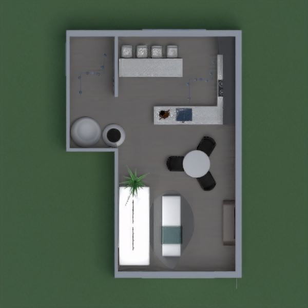 This modern kitchen/living room has an entryway, a kitchen area, a bar, a dining, area, and a sitting room area. The main colors for this project are black and white.