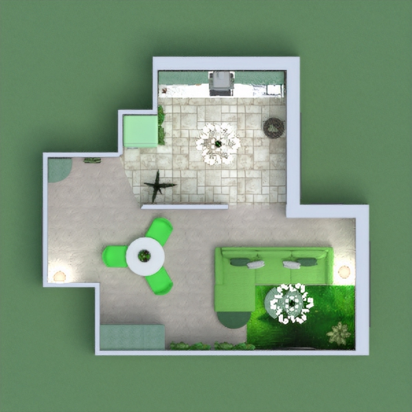 A pastel Living Room and Kitchen, in shades of green and white.