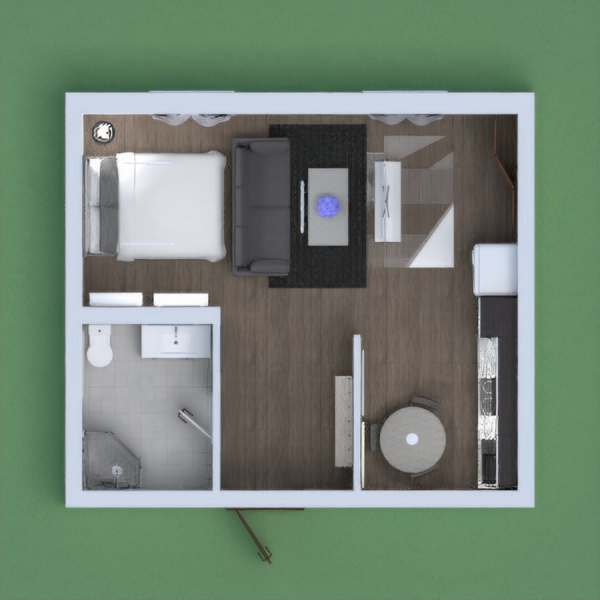 This is a cool apartment with a small kitchen, a bathroom, and a beautiful bed. This room is very grey, black, and white.