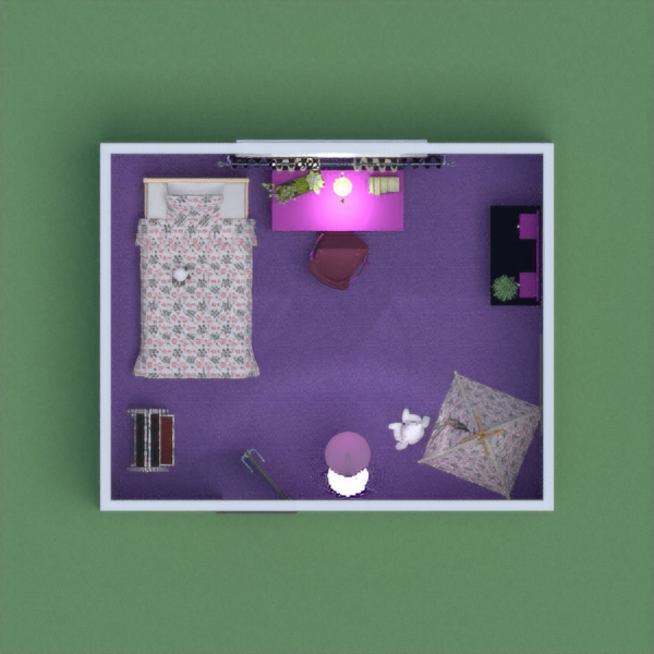 Girls bedroom with grooming area and play area