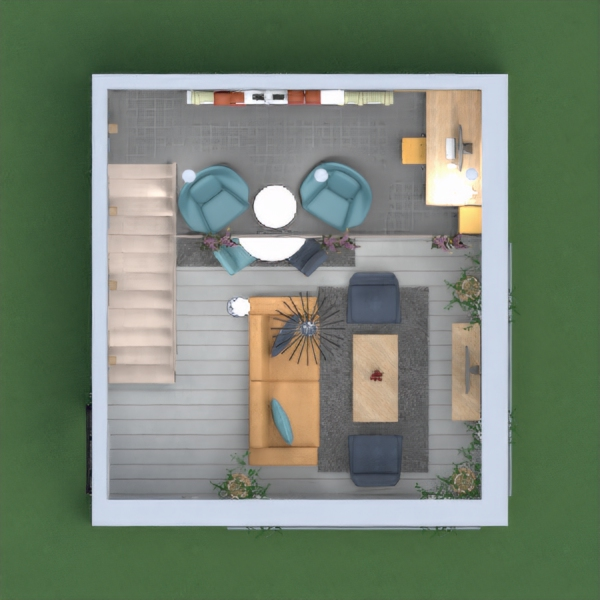 What a wonderfull challenge this week! This time I worked with metal, concrete and rustic wood to give more of a industrial flare to this two-floors apartment. There are three accent  colors and flowers to warm it up and make it friendly.