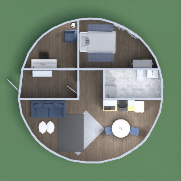 this is a modern one bedroom house with shades of blue.