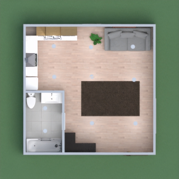 One  bathroom kitchen living area one story.