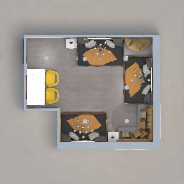 PLEASE VOTE. Worked really hard night in day to fit three kids in one room. This house is based on my triplets siblings 2 girls and boy. This is what they room kinda looks like it is beautiful. I know it is not yellow and gray but I stuck with orange island gray and some yellow hint. Hope you like. VOTE PLEASE ????