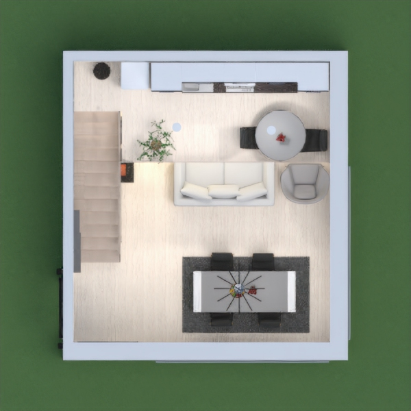An elegant little apartment with a little kitchen upstairs and a living room, a dining room and an office downstairs. I just do this for fun ;)