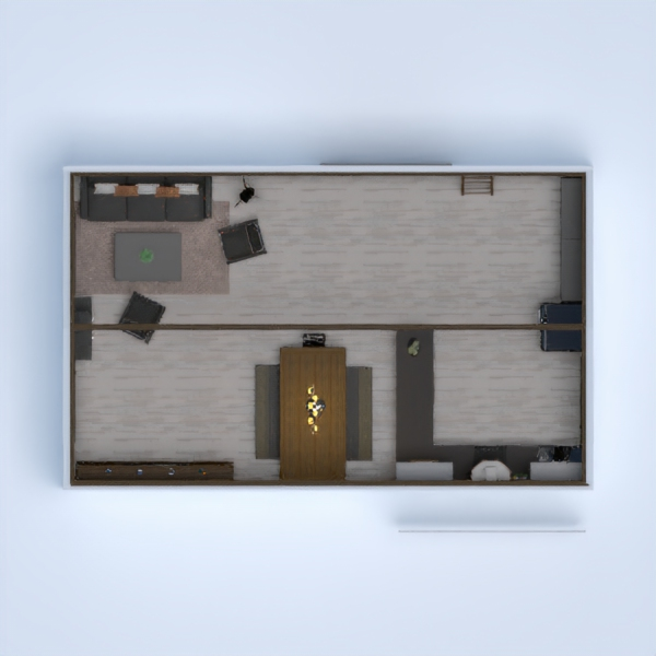 Kitchen and living room interior with wood, concrete and metal - industrial!