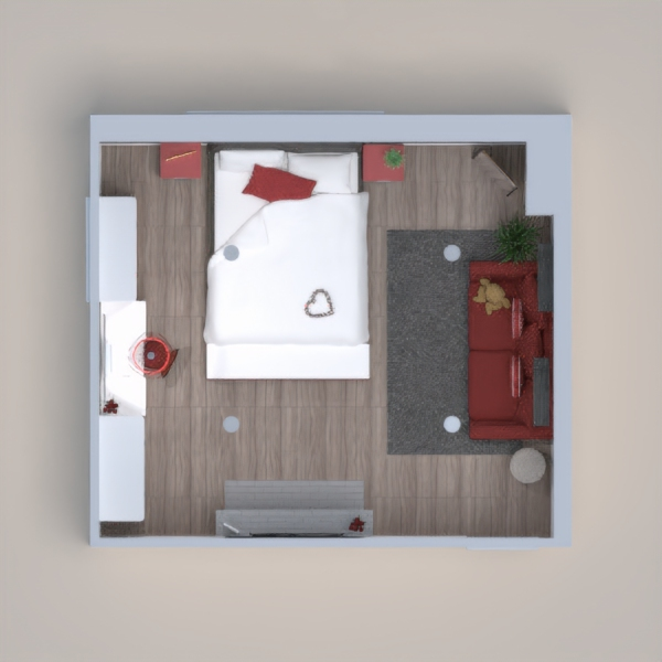 cute cozy bedroom with lush dark accent wall. Built in fire place and comfy seating area, lots of dresser storage with vanity. Lots of detail put into this build with the limited amount of stuff I had. I hope you enjoy, good luck.