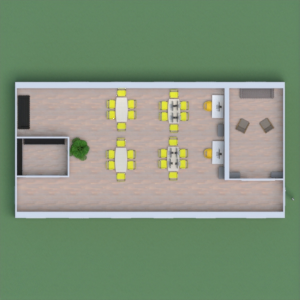 This is my project  an office with soft touches of white, with modern yellow chairs and white tables. Includes a relaxing lounge.