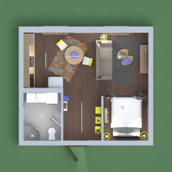 I did an apartment that would state colour, modern and comfy. :P