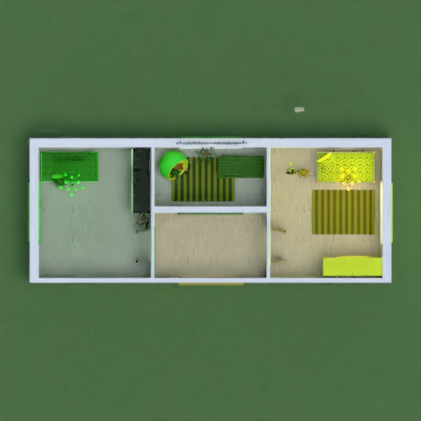 it has 2 rooms for two sisters and they have rooms with yellow and green colors on them