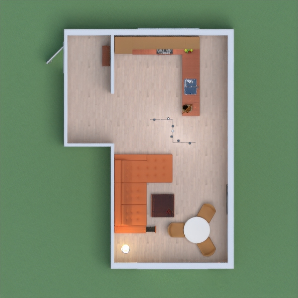 Orange and brown kitchen with living area and eating area