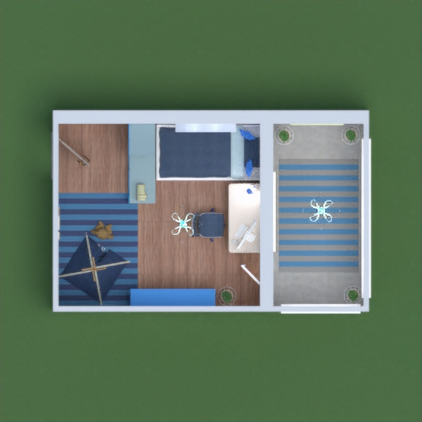 The bedroom of A kid whos favourite colour is blue. Please vote for me if some areas don't look good that's because I kinda gave up.