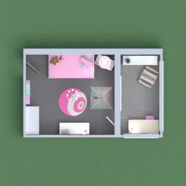 I tried ging for a cute little girls room with grey pink and light blue thoughout the room and balcony.  Hope yous enjoyed and feel free to ask any questions