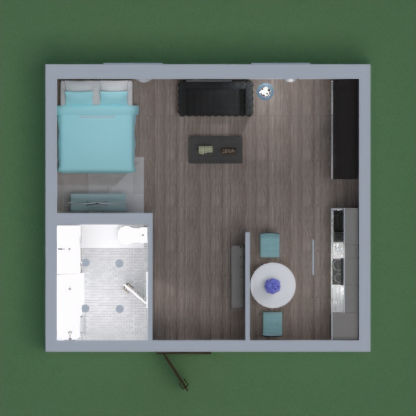 I wanted this project to have a sort of modern vibe. I also threw in splashes of blue accent pieces because i really like the color and it looks nice with the modern appliances.