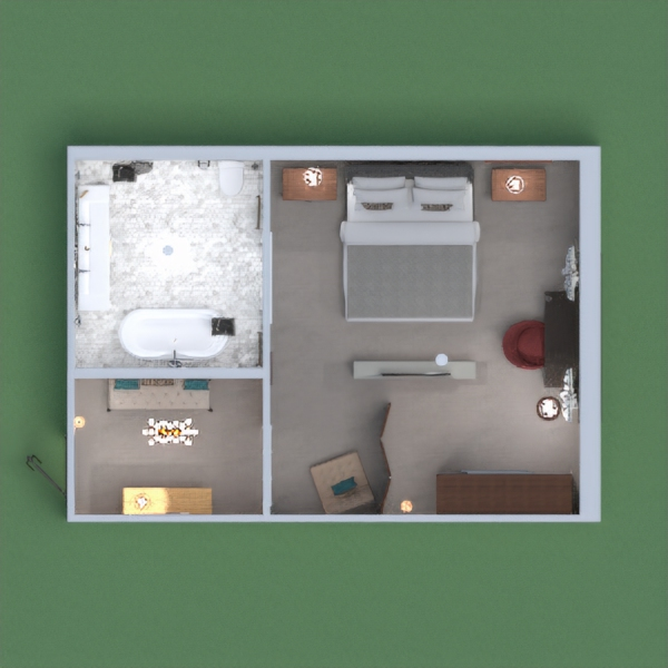 A comfy hotel room with an entryway, bedroom and living space, plus a luxurious bathroom. Hope you'll like it !!!