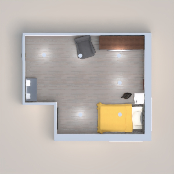 SIMPLE GREY AND YELLOW THEMED ROOM