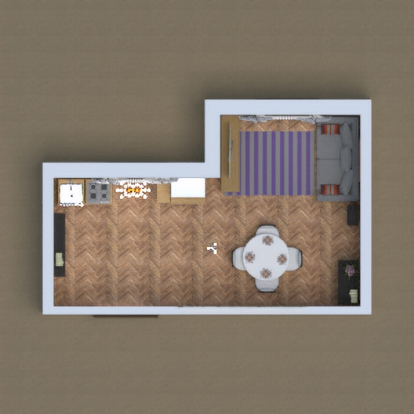 My project is a one room home with a kitchen and a living room