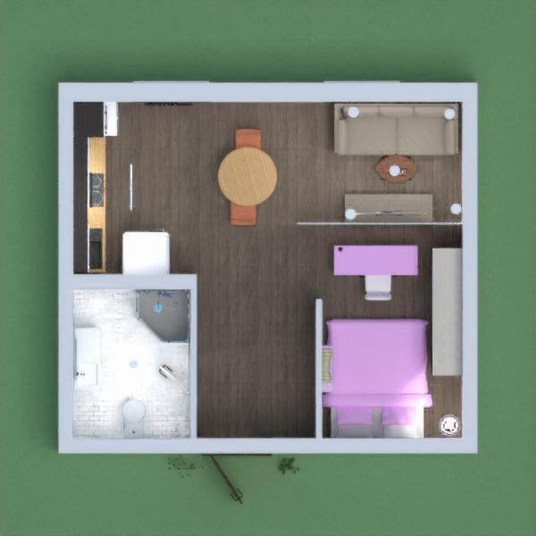 Petit appartement avec les zones principales  (cuisine , chambre à coucher , salon , salle de bains)