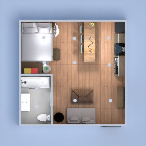A colorful and modern studio apartment with a loft bed. This project was a bit challenging at first, however I think it proves it's worth and I am extremely proud of the finished product. I hope you like it!