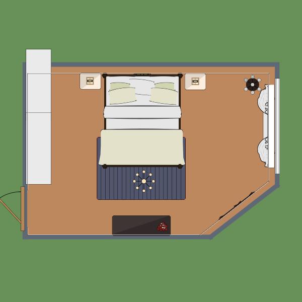 A contemporary master bedroom