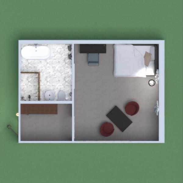 esta casa es una casa chica que contiene un baño amplio un cuarto con cama, un escritorio, una sala de estar chica y un armario
