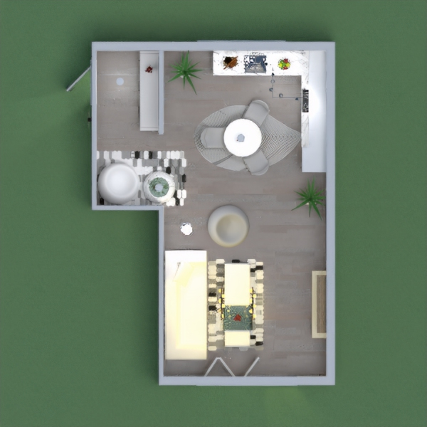 Beautiful and contemporary kitchen and living room. (Also has a living room outside!)