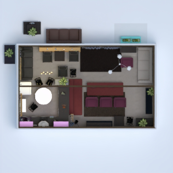 This is mixed room with a minimal style kitchen and living room. The main colours are purple and brown.