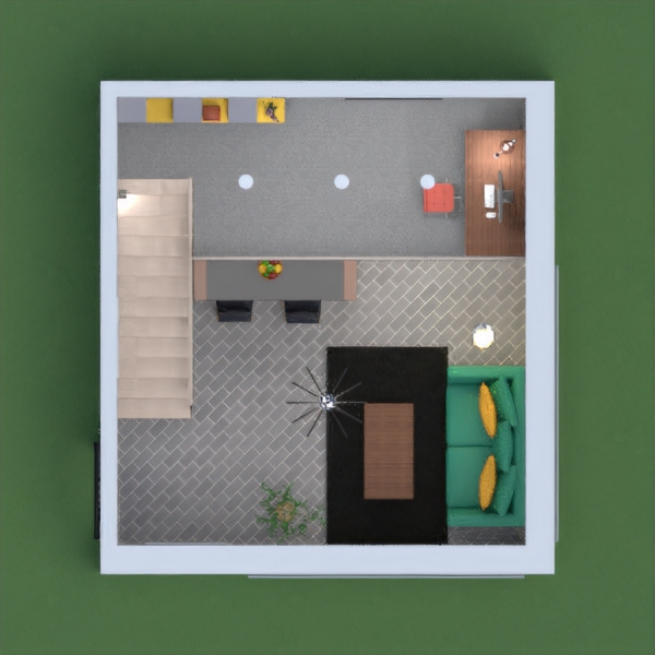 Kitchen, living room, and office on two levels, in classic mid-century colors. Please vote for me!