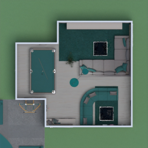 My game room has an area for video games, an area for a pool table, a couch area with storage, and an outdoor climbing area for kids with seating so that parents can supervise. There is also a set of drawers by the window which also doubles as a bench. The dominant color is teal. Please vote for me if you like my project. Thanks! -Katelyn Moss