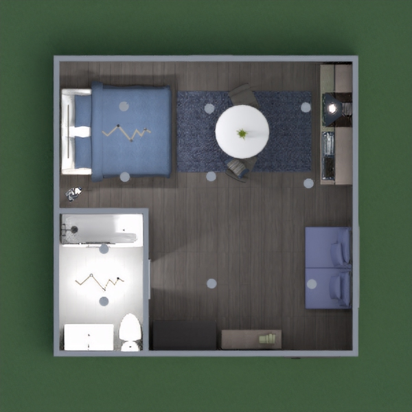 This is a small studio room that has a kitchen, a sleeping area, and a bathroom. please leave comments and let me know where i can find you design so i can vote for you! Thanks :))