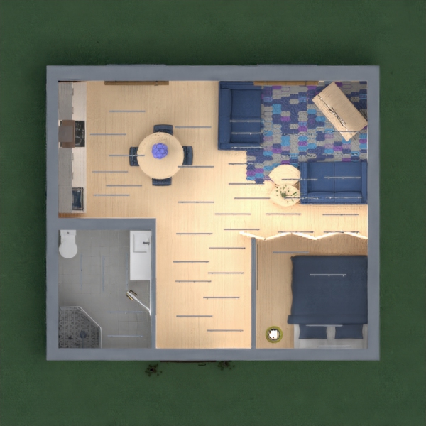 This is a college dorm style apartment. It is a blue/modern theme