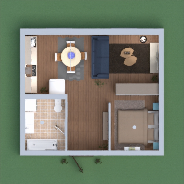 I created a cute and functional apartment with a bedroom, a kitchen and dining area, a living room and a bathroom / laundry room. Hope you'll like it !! :)